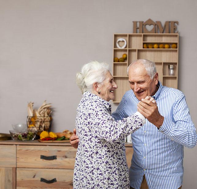 Illustration d'un couple dansant en résidence senior