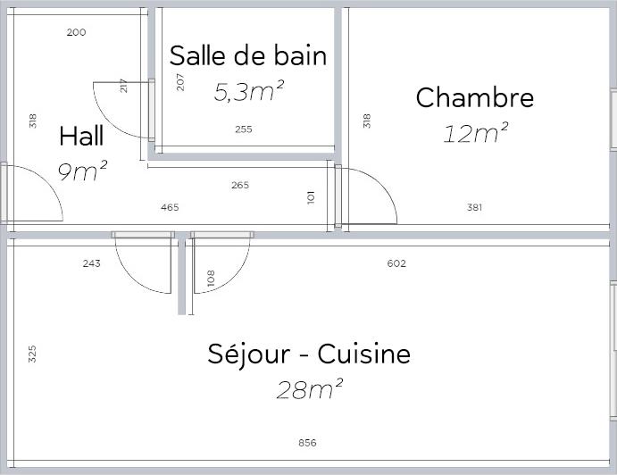 Plan 2D d'un T2 type en résidence Sorya
