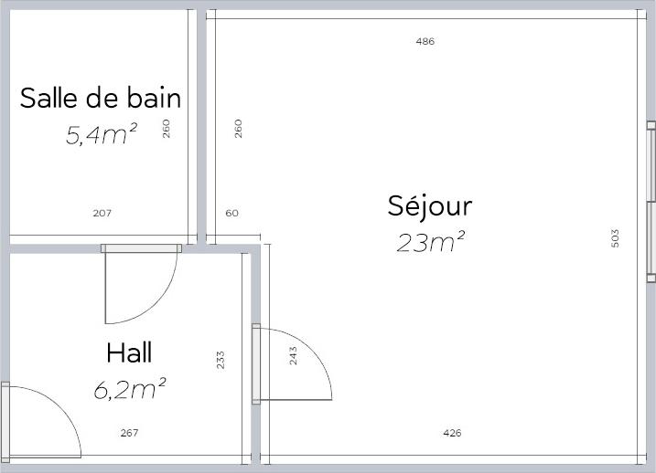 Plan 2D d'un studio type Sorya
