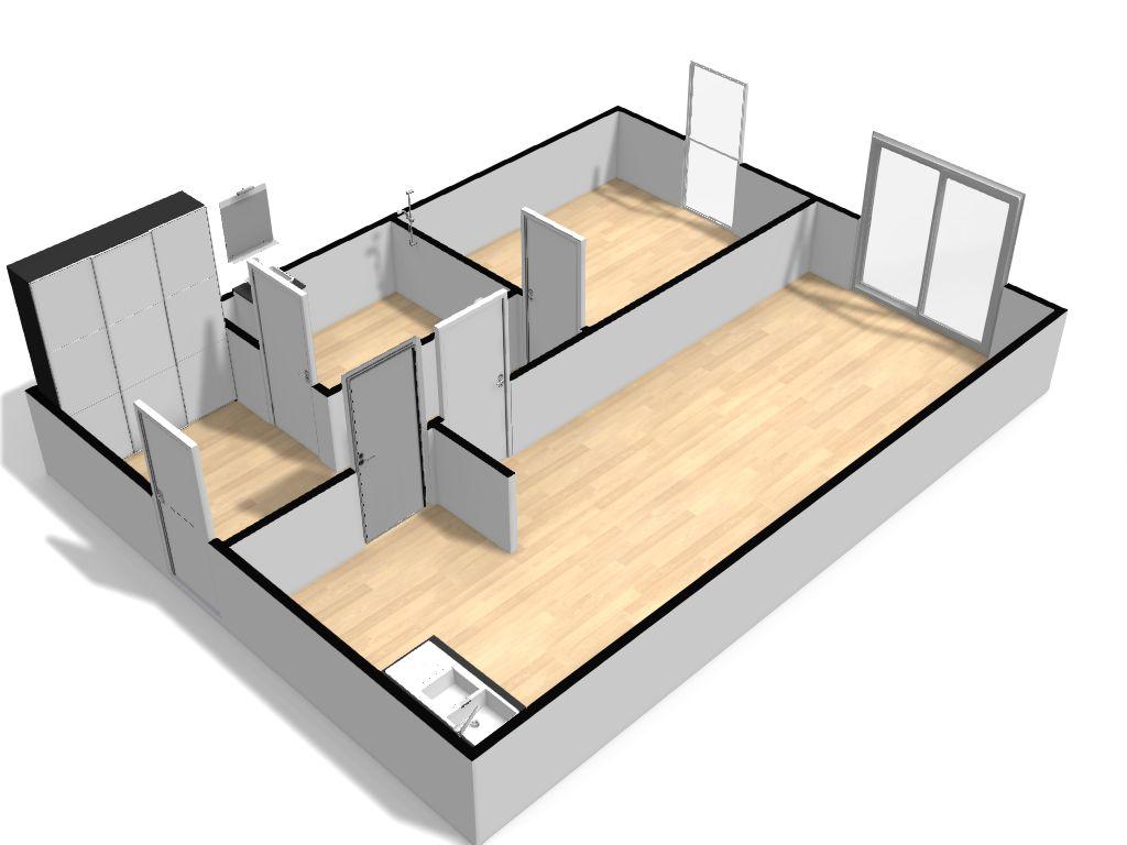 Vue 3D d'un appartement T2 type en résidence Sorya