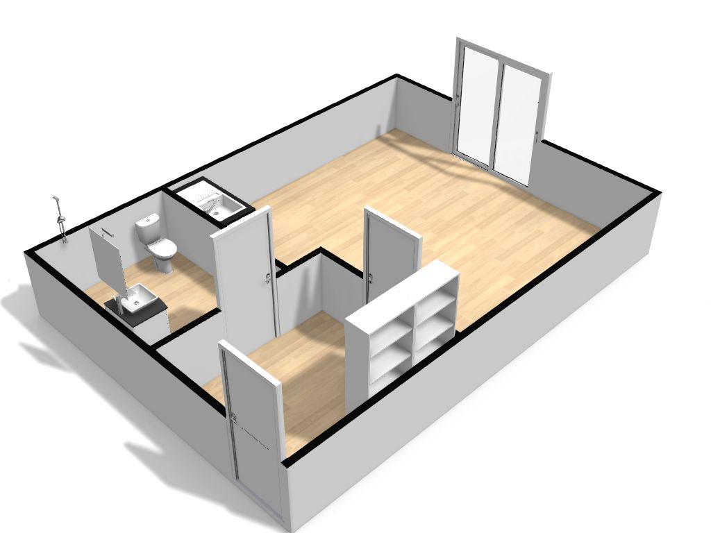 Vue 3D d'un studio type en résidence Sorya